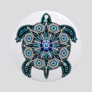 Native American Turtle 01 Round Ornament